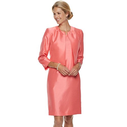Women's Le Suit Sateen Open-Front Jacket & Dress Suit