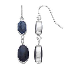 Silver Tone Double Nickel Free Blue Oval Drop Earrings