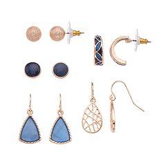 Rose Gold Tone Nickel Free Blue Stud, Semi Hoop & Drop Earring Set