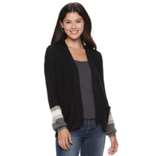 Juniors' Cloud Chaser Striped Cuff Cardigan