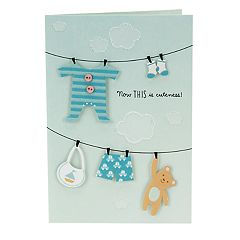 Hallmark Congratulations 'Clothesline' Baby Boy Greeting Card