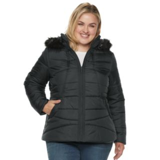 Plus Size Weathercast Hooded Puffer Jacket