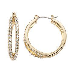 Napier Simulated Crystal Openwork Hoop Earrings