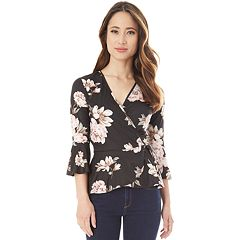 Juniors' IZ Byer Floral Faux-Wrap Top