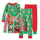 Toddler Boy Paw Patrol Chase, Rubble, Marshall & Skye Christmas Tops & Bottoms Pajama Set