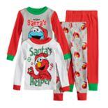 "Toddler Boy Sesame Street Elmo & Cookie Monster Christmas ""Santa's Helper"" Tops & Bottoms Pajama Set"