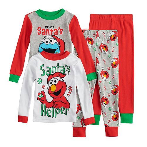 "Toddler Boy Sesame Street Elmo & Cookie Monster Christmas ""Santa's Helper"" Tops & Bottoms Pajama Set"