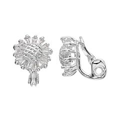 Napier Cubic Zirconia Flower Clip-On Earrings