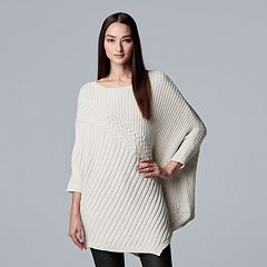 Petite Simply Vera Vera Wang Ribbed Poncho Sweater