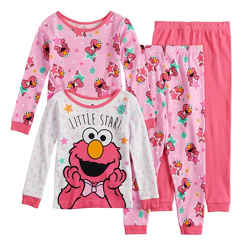 b228a41f12 Toddler Girl Sesame Street Elmo Tops   Bottoms Pajama Set