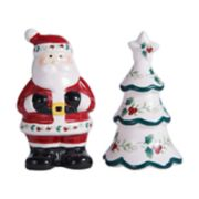 Pfaltzgraff Winterberry Santa and Tree Salt & Pepper Shaker Set
