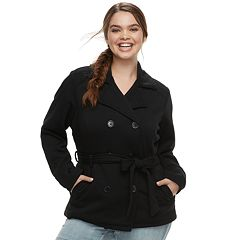 Juniors' Plus Size J-2 Double-Breasted Fleece Jacket