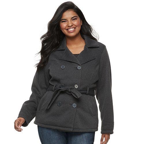 Juniors' Plus Size J-2 Double-Breasted Fleece Jacket