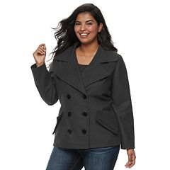 Juniors' Plus Size J-2 Oxford Wool Double Breasted Jacket