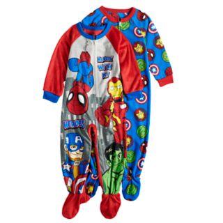 Toddler Boy Marvel Super Hero Adventures 2-pack Spider-Man, Iron Man, Captain America & The Hulk Fleece Footed Pajamas