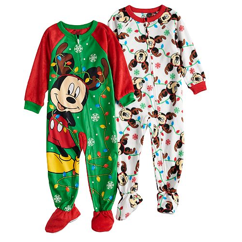 Christmas Footie Pajamas For Kids.Disney S Mickey Mouse Toddler Boy 2 Pack Christmas Fleece