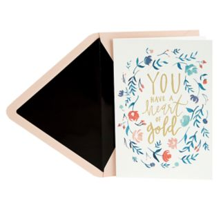 "Hallmark Signature Thank You ""Heart of Gold Floral Wreath"" Greeting Card"