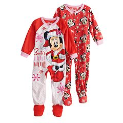Disney's Minnie Mouse Toddler Girls 2-pack Christmas 'Santa's Little Helper' Footed Pajamas