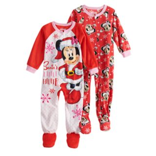 """Disney's Minnie Mouse Toddler Girls 2-pack Christmas """"Santa's Little Helper"""" Footed Pajamas"""