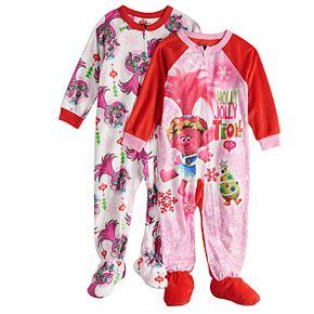 Toddler Girl 2-pack DreamWorks Trolls Poppy Christmas Fleece Footed Pajamas