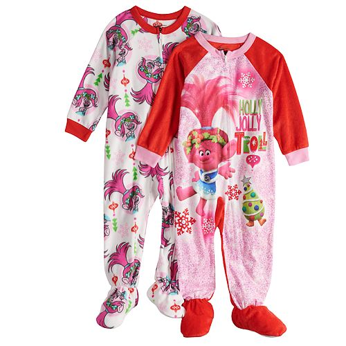Toddler Girl 2-pack DreamWorks Trolls Poppy Christmas Fleece Footed Pajamas