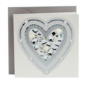 "Hallmark Signature ""Sparkle Heart with Gems"" Blank Greeting Card"