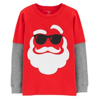 Boys 4-12 Carter's Santa in Sunglasses Mock Layer Tee