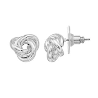 Dana Buchman Silver Tone Knot Stud Earrings