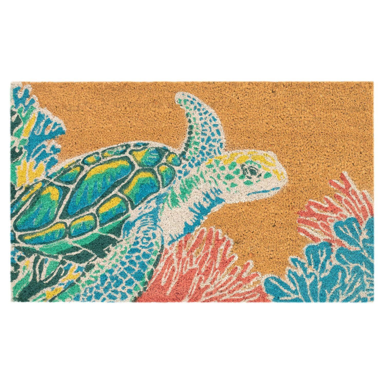 Liora Manne Natura Sea Turtle Indoor Outdoor Coir Doormat   18u0027u0027 X 30u0027