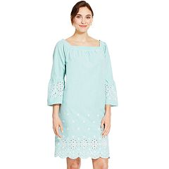 Women's IZOD Embroidered Seersucker Shift Dress