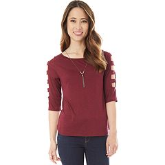 Juniors' IZ Byer Cutout Ladder Sleeve Crewneck Top