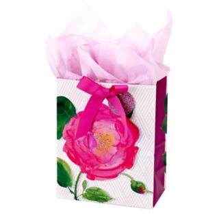 "Hallmark ""Pink Rose"" Medium Gift Bag with Tissue Paper"