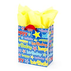Hallmark 'Blue Happy Birthday' Medium Gift Bag with Tissue Paper