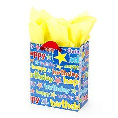 Hallmark 'Blue Happy Birthday' Medium Gift Bag with Tissue Paper