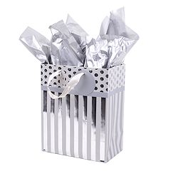 Hallmark 'Silver Stripes' Medium Gift Bag with Tissue Paper