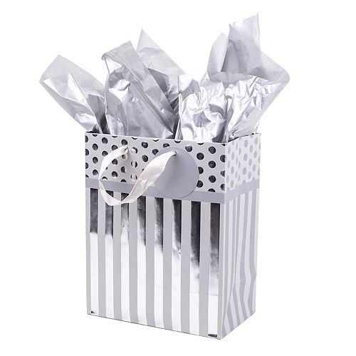"Hallmark ""Silver Stripes"" Medium Gift Bag with Tissue Paper"