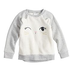 Toddler Girl Jumping Beans® Plush Cat Winking Raglan Sweatshirt