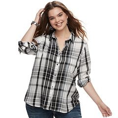 Juniors' Plus Size SO® Button Down Shirt