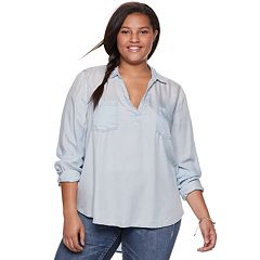 Juniors' Plus Size Mudd® Chambray Popover Tunic