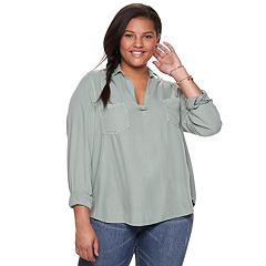 Juniors' Plus Size Mudd® Solid Popover Tunic