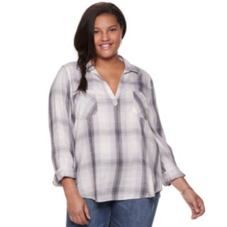 Juniors' Plus Size Mudd® Plaid Popover Tunic