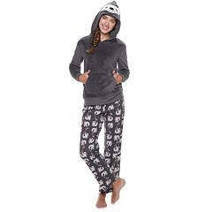 Juniors' SO® Sherpa Sloth Hoodie & Pants Pajama Set