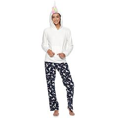 Juniors' SO® Sherpa Unicorn Hoodie & Pants Pajama Set