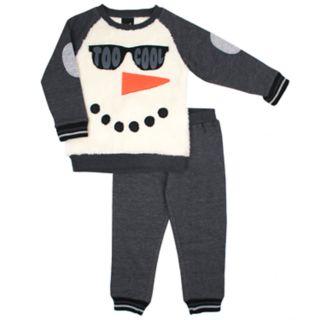 "Toddler Boy Little Rebels ""Too Cool"" Snowman Pullover Sweatshirt & Jogger Pants Set"