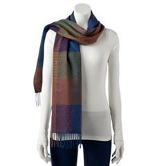 Women's Softer Than Cashmere Shadow Plaid Oblong Scarf