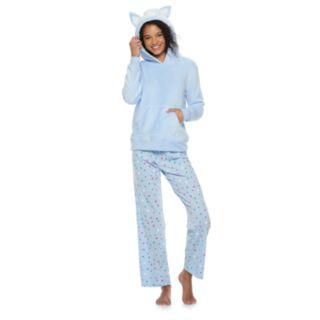 Juniors' SO® Sherpa Llama Hoodie & Pants Pajama Set