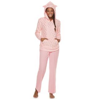 Juniors' SO® Plush Cat Hoodie & Pants Pajama Set