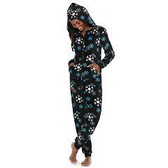 Juniors' SO® Printed Plush One-Piece Pajamas