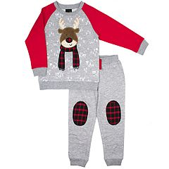 Toddler Boy Little Rebels Reindeer Raglan Top & Jogger Pants Set