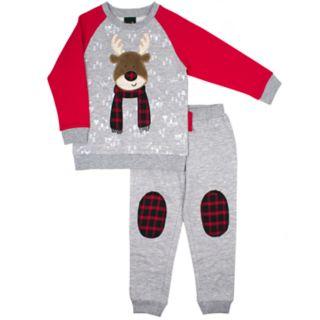 Toddler Boy Little Rebels Reindeer Raglan Top & Jogger Pants Set